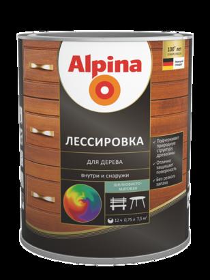 ALPINA Лессировка-защитное покрытие для дерева, колеруемая, шелковисто-матовая